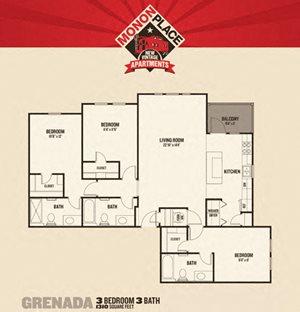 Monon Place II -  3 Bedroom FloorPlan at Buckingham Monon Living, Indianapolis, IN, 46220