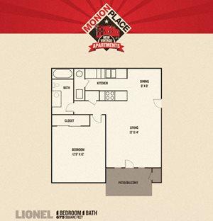 Monon Place I - 1 Bedrooms FloorPlan at Buckingham Monon Living, Indiana, 46220
