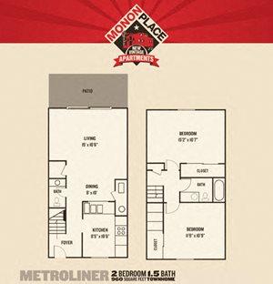 Monon Place I  -  2 Bedroom Townhomes FloorPlan at Buckingham Monon Living, Indianapolis, Indiana