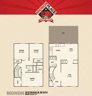 Monon Place I  -  3 Bedroom Townhome FloorPlan at Buckingham Monon Living, Indiana