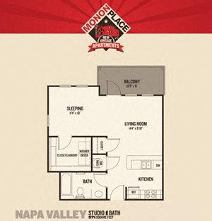 Monon Place II  -  Studio FloorPlan at Buckingham Monon Living, Indiana, 46220