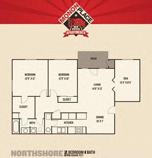 Monon Place I  - 2 Bedrooms FloorPlan at Buckingham Monon Living, Indianapolis, IN