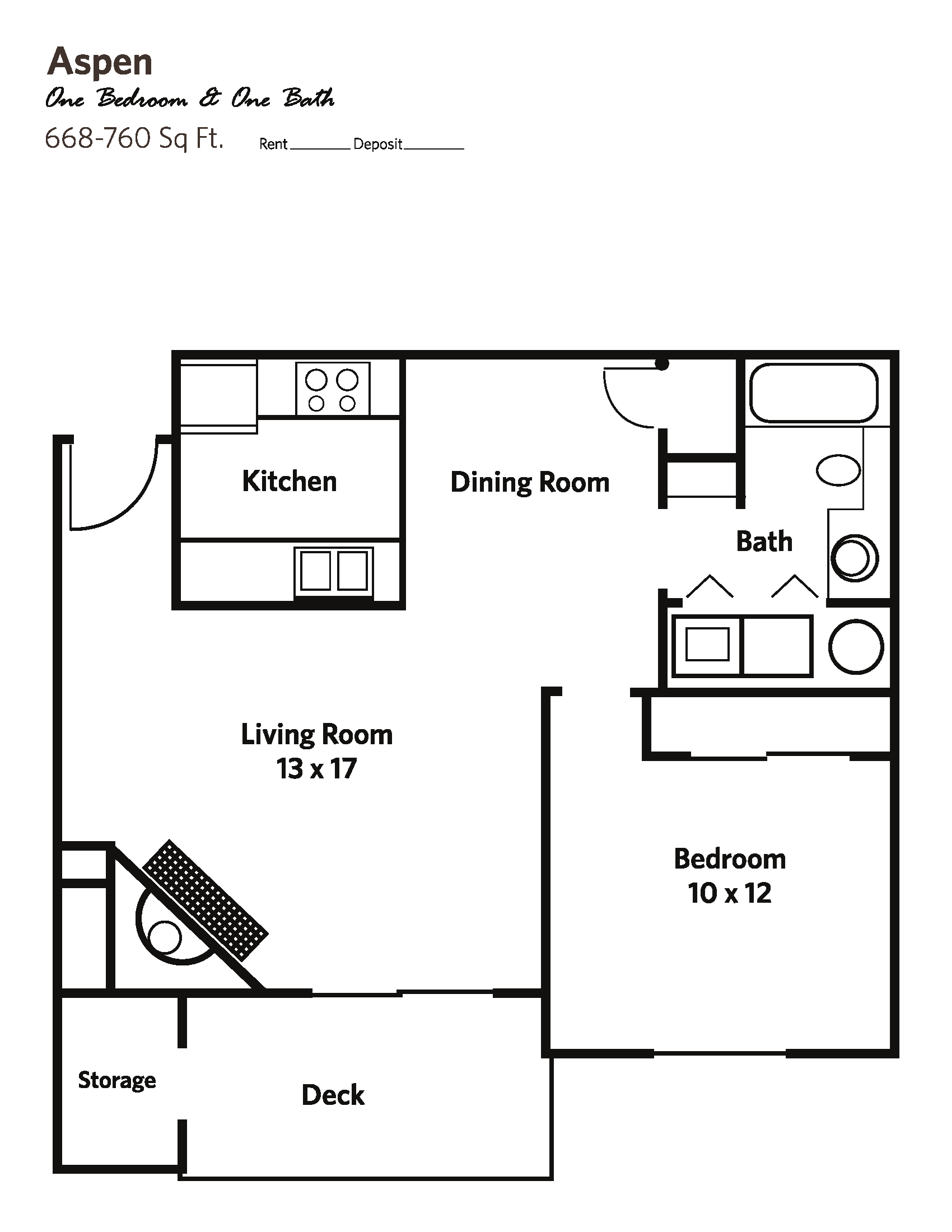 ASPEN Medium (1 bed + 1 bath) - Apartments Floor Plan 2