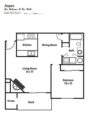 ASPEN Large (1 bed + 1 bath) - Apartments
