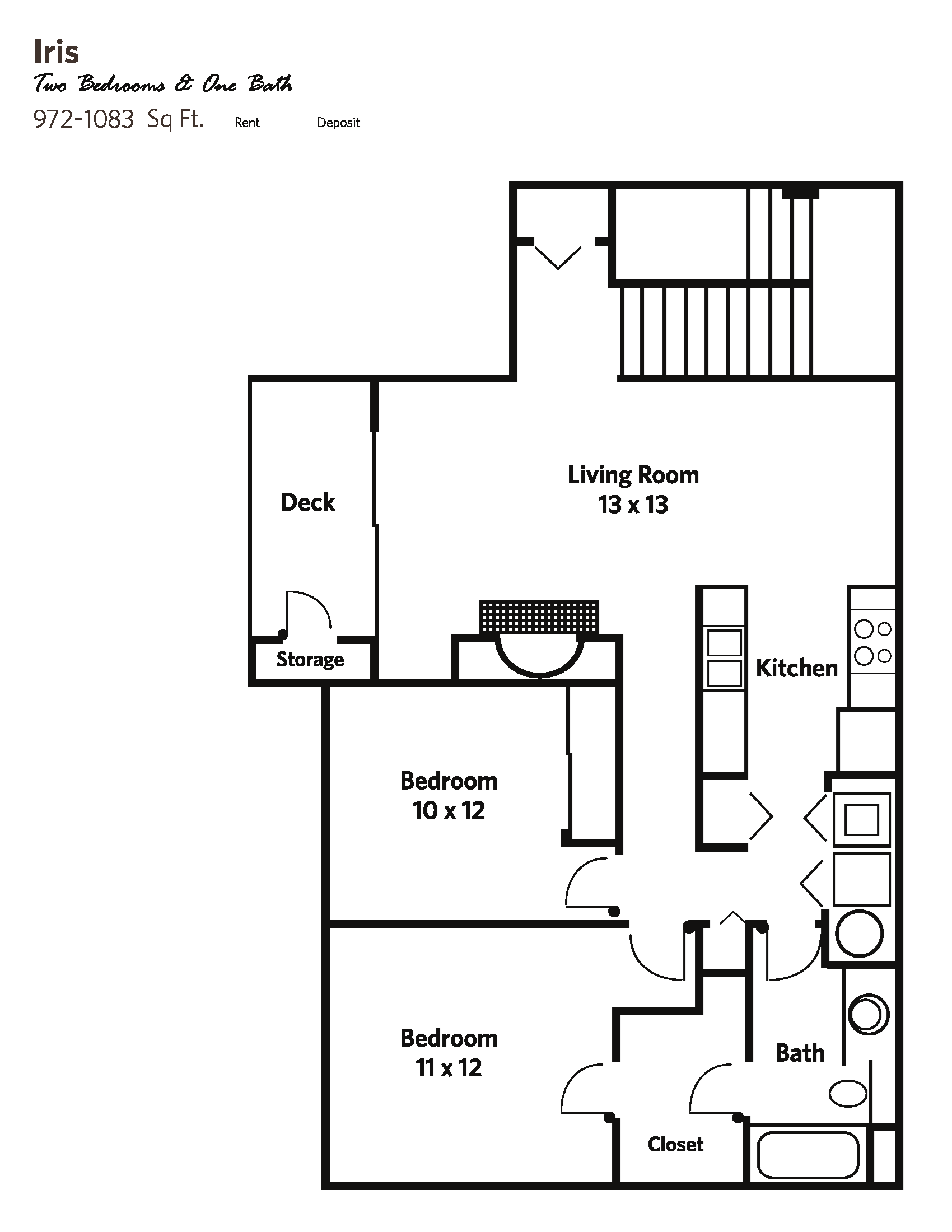 IRIS Small (2 bed + 1 bath) - Apartments Floor Plan 4