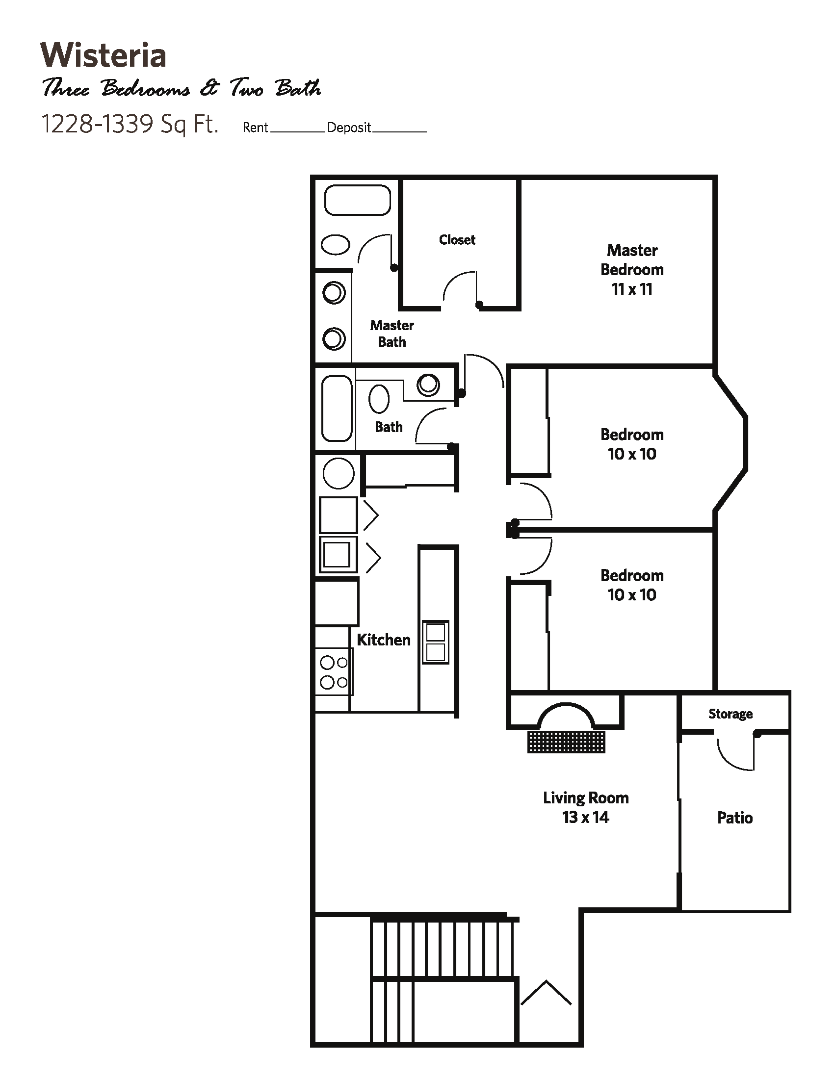WISTERIA Small (3 bed + 2 bath) - Apartments Floor Plan 7