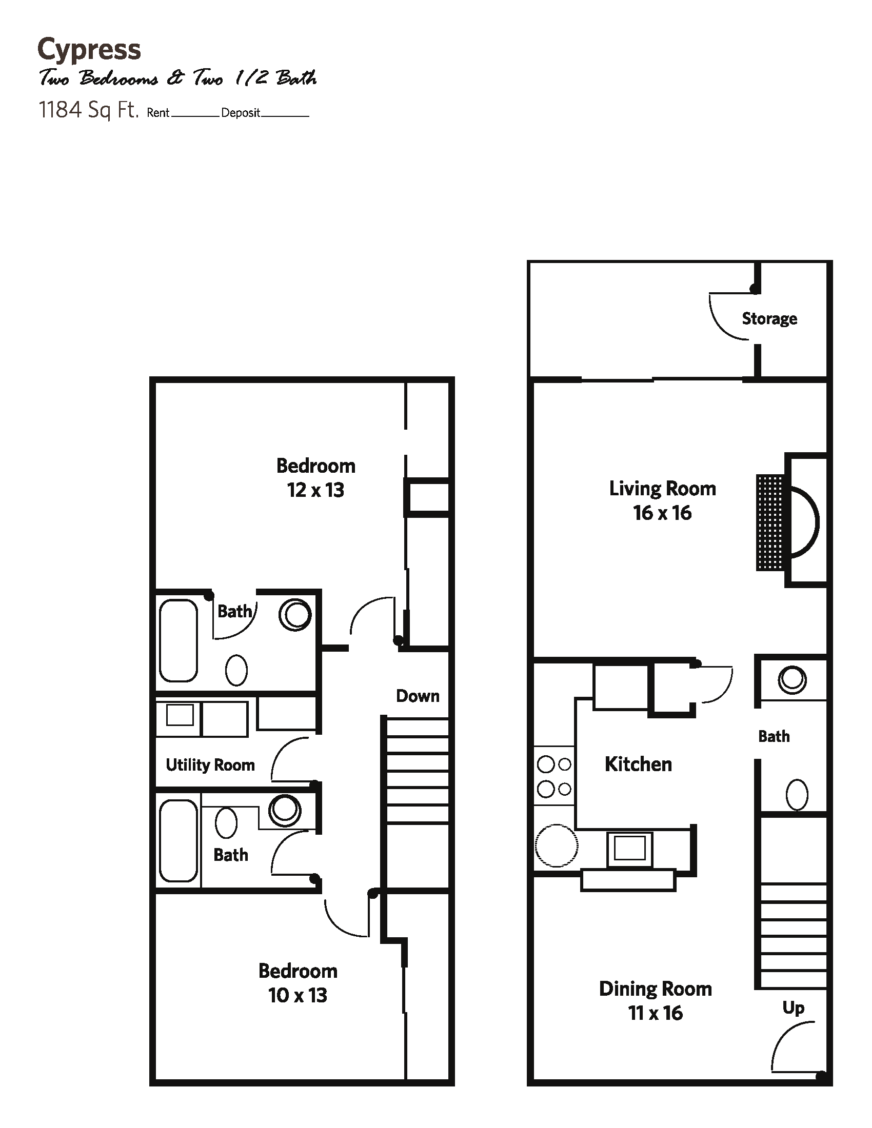 CYPRESS (2 bed + 2.5 bath) - Townhomes Floor Plan 4