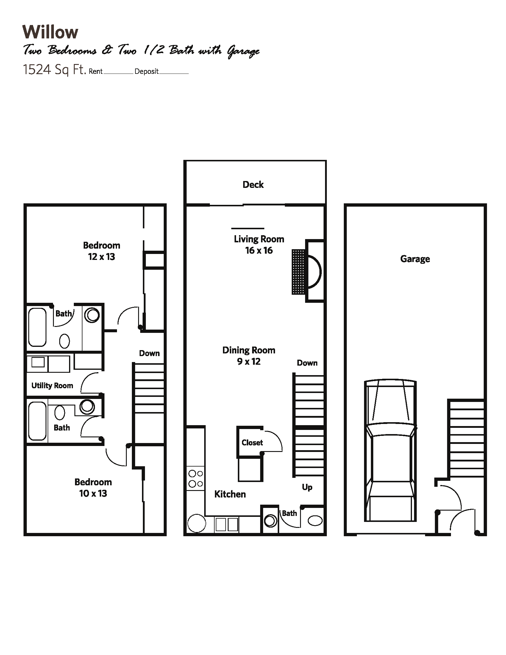 WILLOW (2 bed + 2.5 bath w/garage) - Townhomes Floor Plan 7