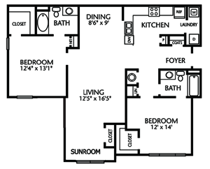 Two Bedroom, Two Bathroom with Sunroom