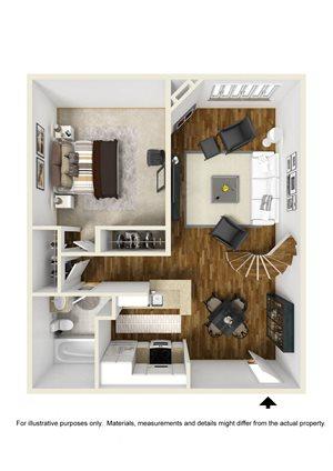 1BR 1BA plus loft - Plan B