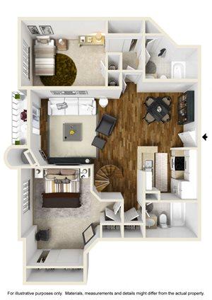 2BR 2BA plus loft - Plan B