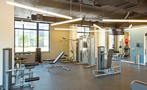 Luxury apartment amenities 24 hour fitness center