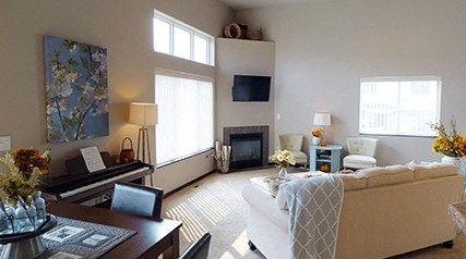 living area, gas fireplace, great room