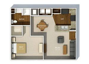 Andover Park Luxury Apartments one bedroom floor plan