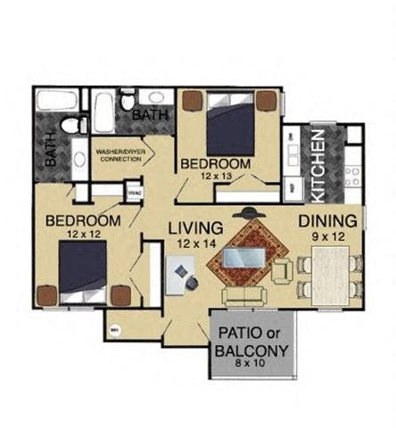 2 Bedroom 1st Floor Floor Plan 3