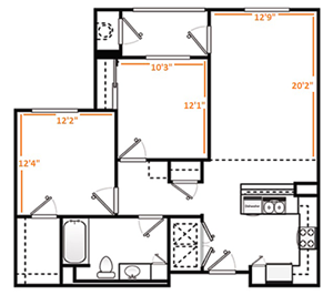Two Bed/One Bath A-1