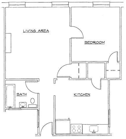 One Bedroom-A Floor Plan 1