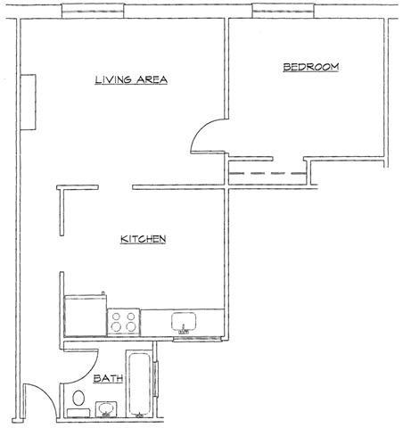 One Bedroom-B Floor Plan 2