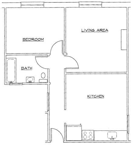 One Bedroom-C Floor Plan 3