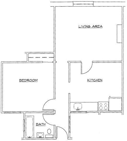 One Bedroom-D Floor Plan 4
