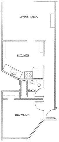 One Bedroom-E Floor Plan 5