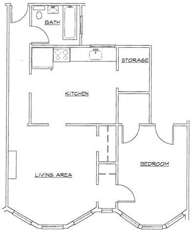 One Bedroom-F Floor Plan 6