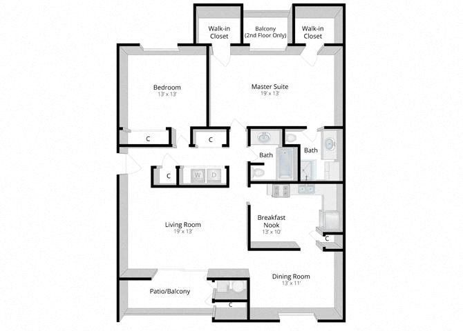 Haven: Two Bedroom Apartment Floor Plan 5
