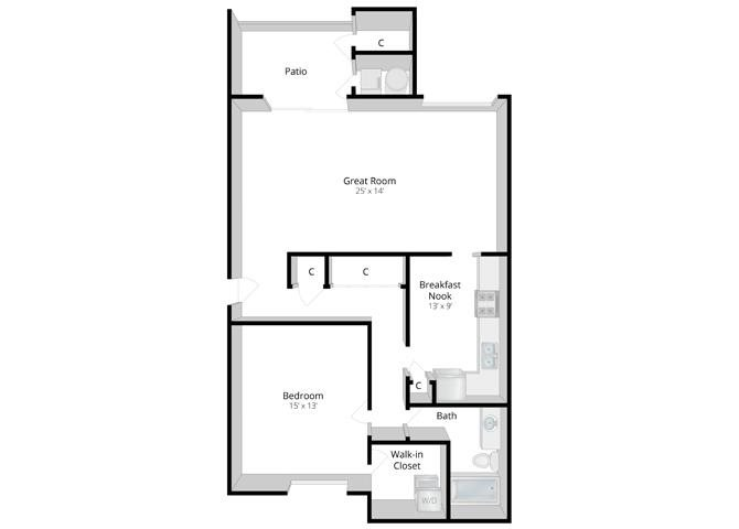 Retreat: One Bedroom Apartment Floor Plan 1