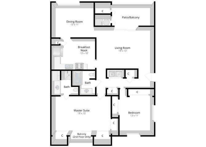 Serenity: Two Bedroom Apartment Floor Plan 4