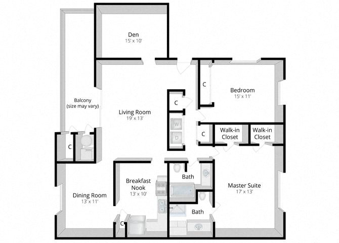 Tranquility: Two Bedroom Apartment with Den Floor Plan 6