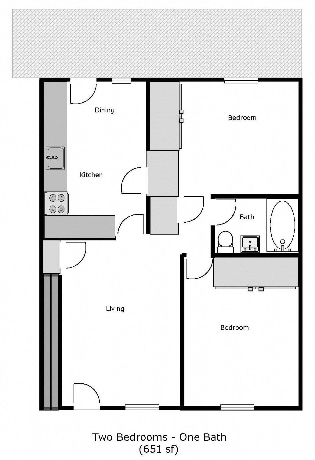 Jackson Street Apartments - 500 Jackson St, Fairfield - 2 Bed 1 Bath Floor Plan 3