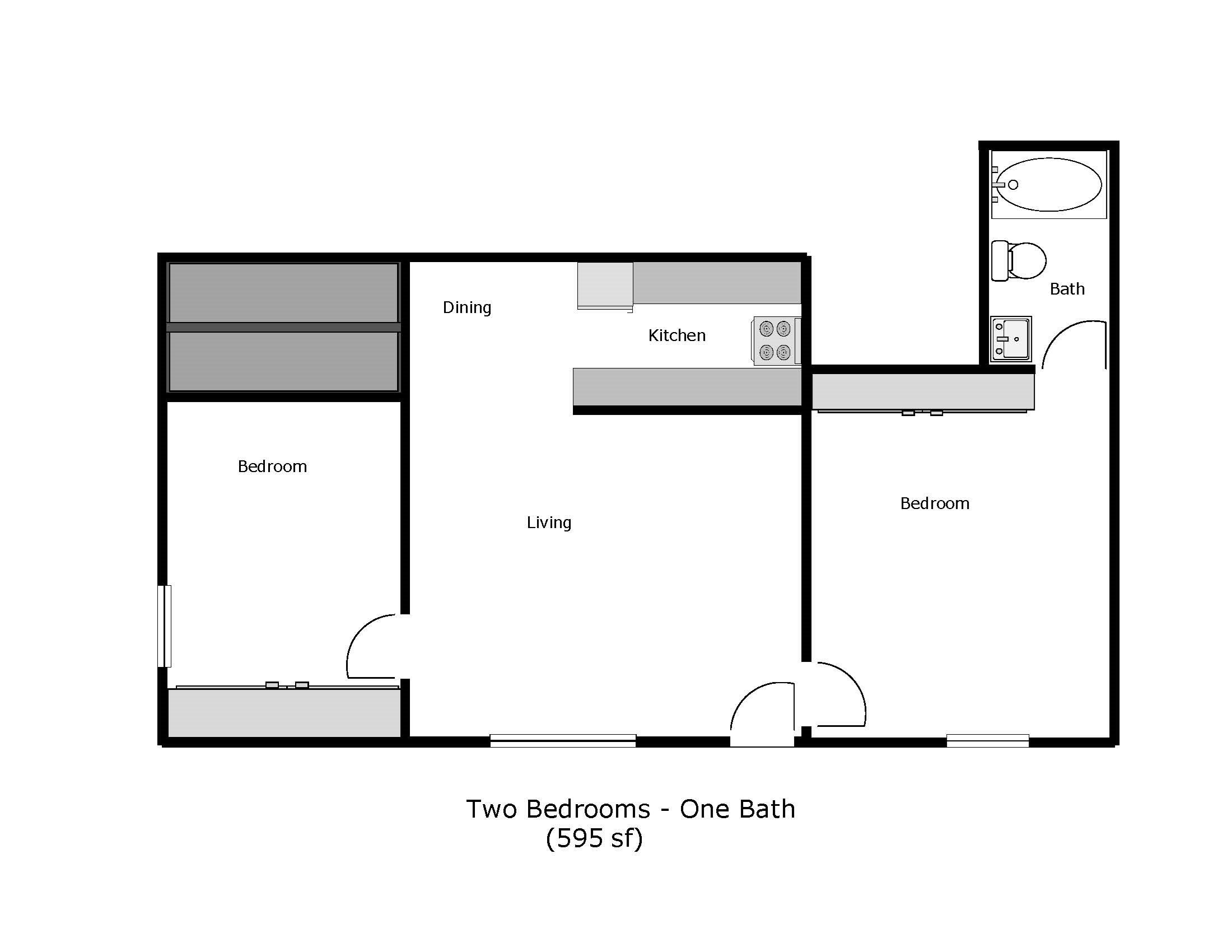 Marpel - Carpenter/Washington Street, Fairfield -  2 Bed 1 Bath Floor Plan 5