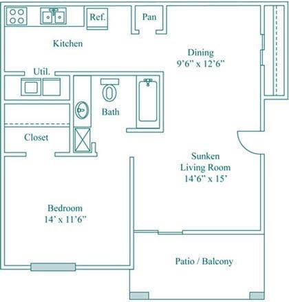 1 Bedroom 1 Bath Deluxe Floor Plan 2