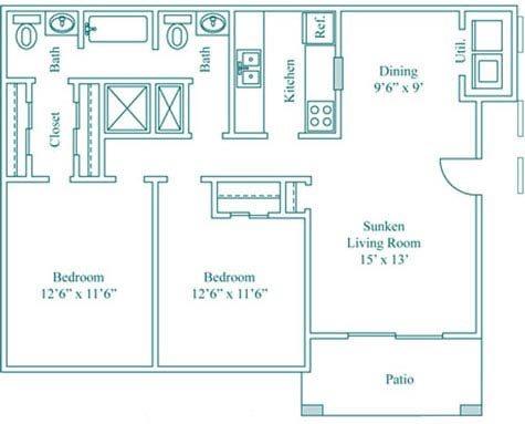 2 Bedroom 1.5 Bath Floor Plan 3