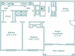 2 Bedroom 1.5 Bath Deluxe