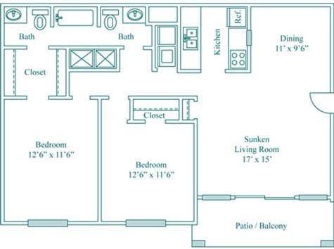 2 Bedroom 1.5 Bath Deluxe Floor Plan 4