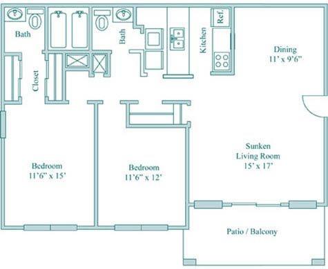 2 Bedroom 2 Bath Deluxe Floor Plan 6