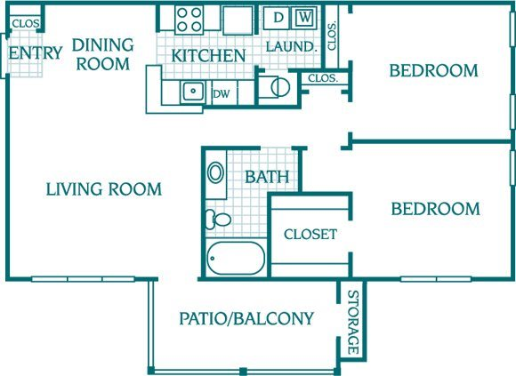 2 Bedroom 1 Bath Floor Plan 4
