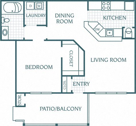 1 Bedroom 1 Bath Deluxe Floor Plan 2