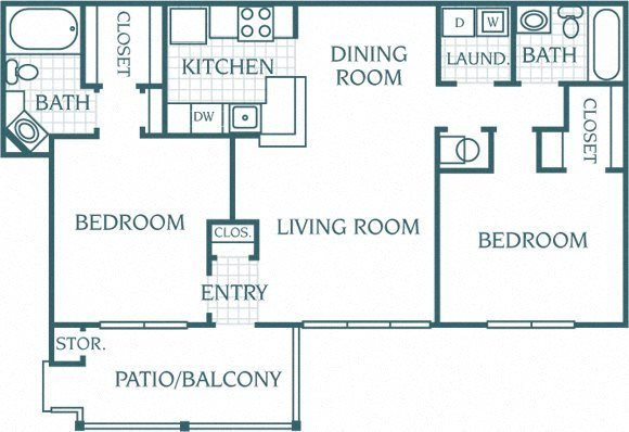 2 Bedroom 2 Bath Standard Floor Plan 5