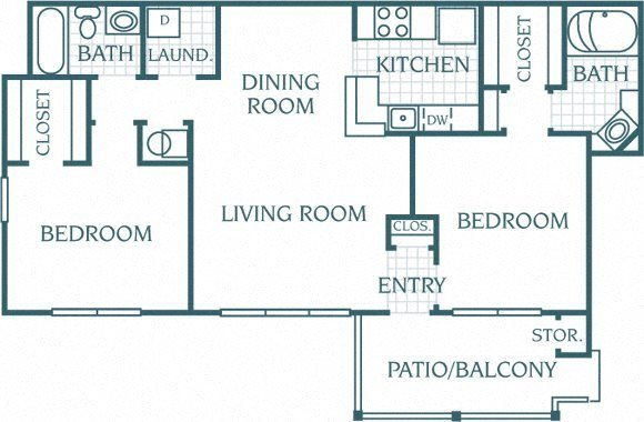 2 Bedroom 2 Bath Floor Plan 7