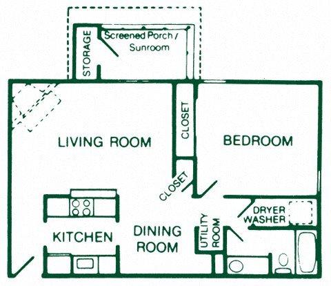 1 Bedroom 1 Bath Deluxe Floor Plan 5
