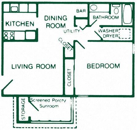 1 Bedroom 1 Bath Standard Floor Plan 3