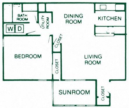 1 Bedroom 1 Bath Terrace Floor Plan 4