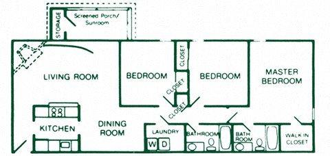3 Bedroom 2 Bath Deluxe Floor Plan 9