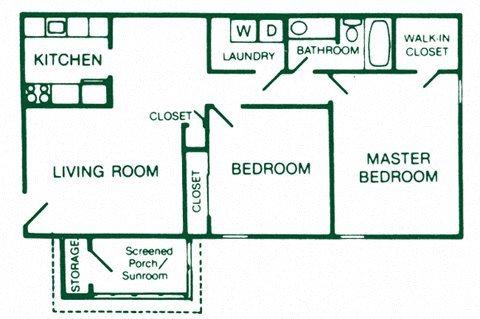 2 Bedroom 1 Bath Floor Plan 6