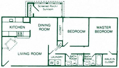 2 Bedroom 2 Bath Deluxe Floor Plan 8