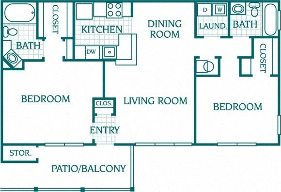2 Bedroom 2 Bath Deluxe Floor Plan 3
