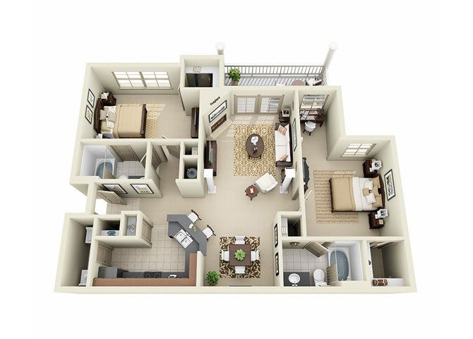 2 Bedroom 2 Bathroom Floor Plan at Stone Creek Apartments
