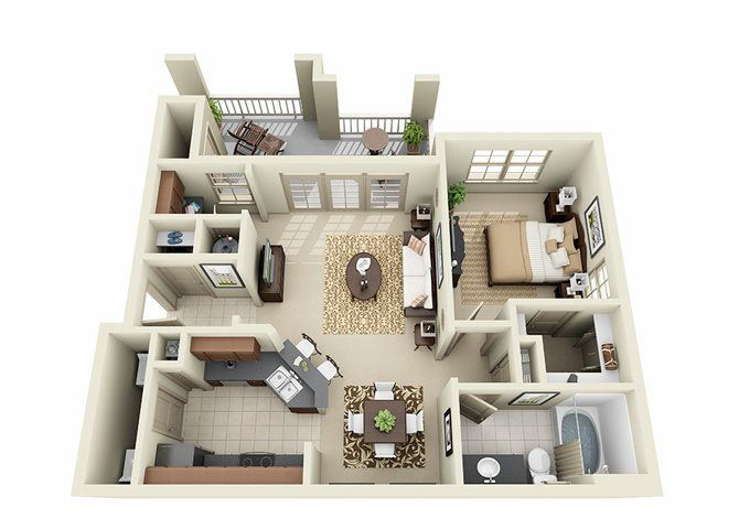 1 Bedroom 1 Bathroom Floor Plan at Stone Creek Apartments